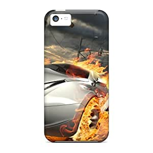 Tpu Case Cover For Iphone 5c Strong Protect Case - Flames Cars Race Design
