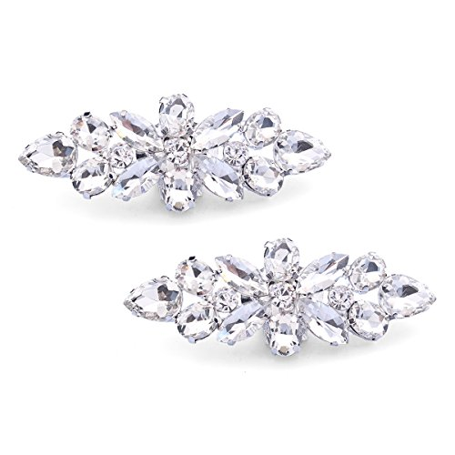 Santfe Fashion Crystal Rhinestone Flower Shoe Buckle Shoe Clips for Bridal Wedding Party Shoe Decoration (Silver)
