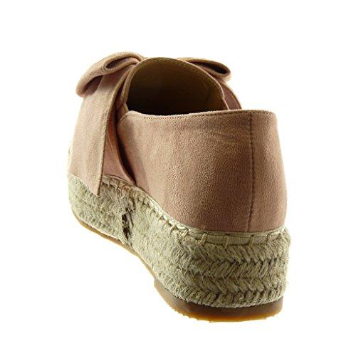 La forme Noeud Slip Cordon Cm Plate De 4 Plate Rose Angkorly Mode Féminine Tressée Chaussures Coin forme on Espadrilles De Noeud 6wvS4Tq0