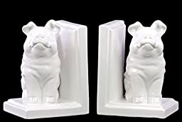 Urban Trends Collection 40083-AST 4 Piece Gloss White Ceramic Sitting Winged Pig Bookend Assortment44; Set of Two - 5.25 x 4.25 x 7.00 in.