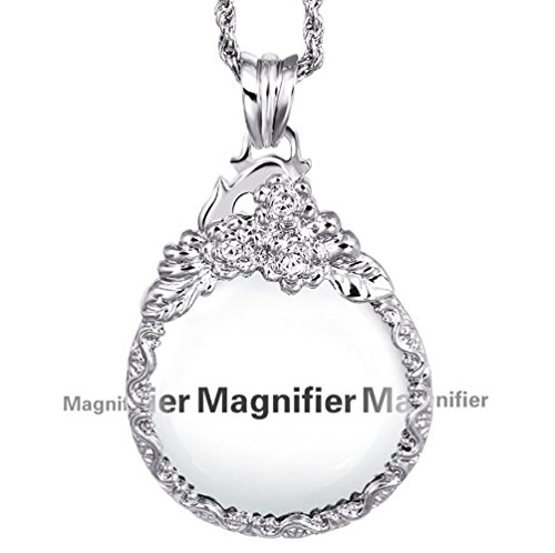 Unique Vintage Silver Color Ornate Elegant Long Chain Mag...