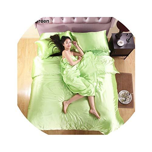 Camel Color Silk Bedding Set Luxury Single Double Bed Linen 3-4Pcs Bedclothes Duvet Cover Bed Sheet Pillowcase Twin Queen King,Apple Green,Queen