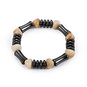 Weight Loss Round Black Stone Magnetic Therapy Bracelet Health Care Magnetic Hematite Stretch Bracelet For Men Women Anti-Fatigue Health Care Energy Slimming Jewelry