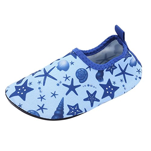 oys&Girls Whale Swim Water Shoes Barefoot Aqua Socks Shoes for Beach Pool Surfing Yoga for Ages 4T-7T (Blue2, 4-4.5T) ()