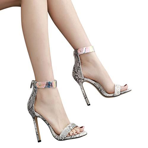 Noir Pattern Hauted Femme Shoes Chaussure Sandals Sangle Aiguill Serpent Cheville Plastic De Peau Talon Sandales Robemon❤️été qwRXUpZ4
