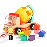 Mixer Truck Toy Shape Sorter Trucks for 1 & 2 Year Old Boys