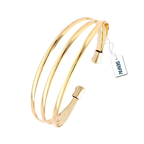 SENFAI European Trendy Multilevel Exaggerated Copper Wide Bangle Open Hollow Women Big Bangles (Big Bangle)