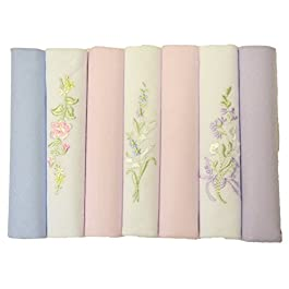 7 Ladies Assorted Embroidered And Dyed Handkerchiefs 100% Cotton, Pink Purple Blue and White, 11.5 inches approx