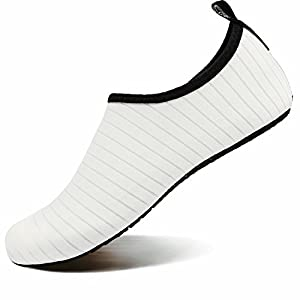 VIFUUR Water Sports Shoes Barefoot Quick-Dry Aqua Yoga Socks Slip-on for Men Women Kids White-38/39