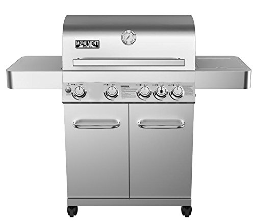 4-Burner Propane Gas Grill,Stainless, LED Controls,Side Burner,Rotisserie