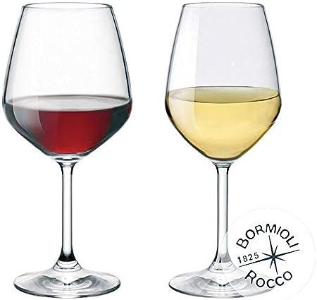 Collezione DIVINO Colección tieno Bormioli Rocco–Juego 12Copas Vino–N ° 6tieno Rojo 53Cl + N ° 6tieno Blanco 44Cl Eleganza a Tabla