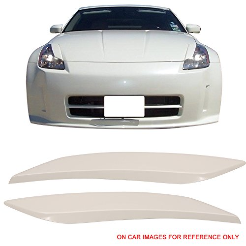(Pre-Painted Eyelid Fits 2003-2008 Nissan 350Z   Painted #QX1 Glacier Pearl ABS Headlight Eyelids Eyebrows Cover Other Color Available By IKON MOTORSPORTS   2004 2005 2006 2007)