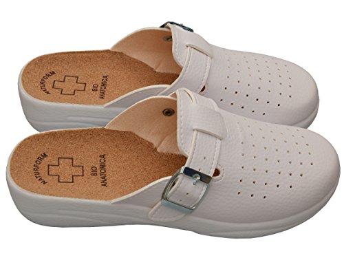 Bawal Damen Pantolette Sandalen Komfort Kork Hausschuhe Arbeit Modell 3512 3511-Weiß