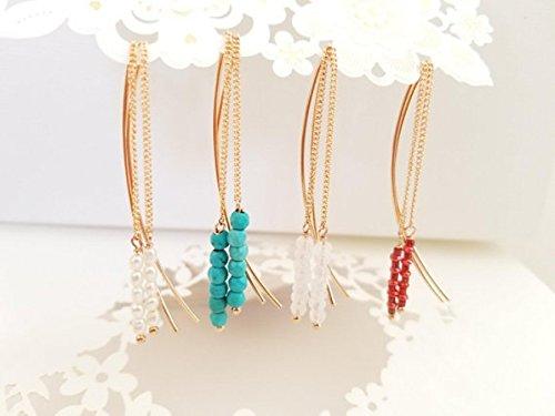 ROSE GOLD Threader earrings, Turquoise Threader Earrings, Ruby Threader Earrings, Moonstone Threader Earrings, Freshwater Pearl Statement