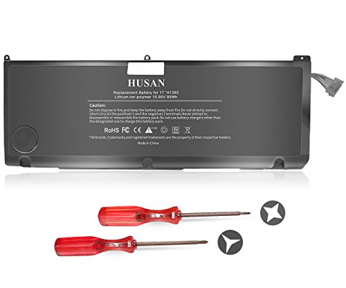 17 Pro Macbook Parts - HUSAN New A1383 Laptop Battery Compatible for MacBook Pro 17 inch A1297 (only for 2011 Version) MD311 MC725 020-7149-A 020-7149-A10 95Wh/8700mAh