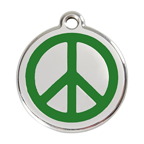 PUNK HOLLOW COUNTRY KENNEL Red Dingo ~ Stainless Steel with Enamel Dog, Cat, Pet I.D. Tag - Peace Sign (USPS Shipping W/Tracking) (Small - 0.8