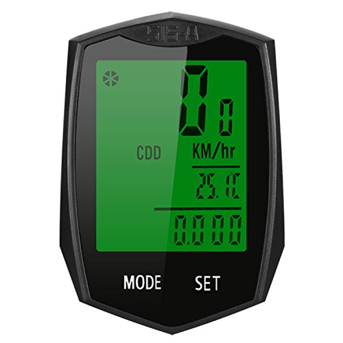 Zaplue Bike Computer, Wireless Waterproof Bicycle Speedometer, Sport Bike Computer Cycling Odometer Multifunction with Graphic Height Profile Extra Large LCD Backlight Display (Black-2)