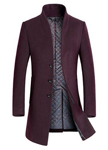 Lavnis Men's Trench Coat Long Wool Blend Slim Fit Jacket Overcoat Size Thicken Style Style 1 Red Wine S