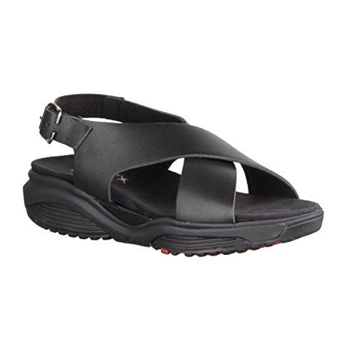 Xsensible Corfu 30036.5001- Damesschoenen Sandaal Gemakkelijk Opnemen / Losse, Zwart, Leer Zwart