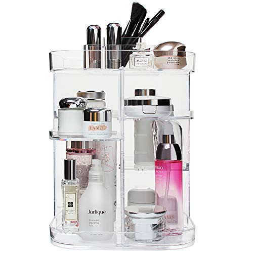 Boxalls Makeup Organizer 360 Degree Rotating Storage, Multi-Function Clear Carousel Cosmetic Organizer with 5 Layers…