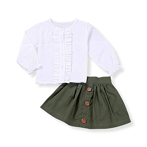 19a15c52ab20 Kids Baby Girl Skirt Set Ruffle Shirt + A-line Skirt 2PCs Clothes Outfit