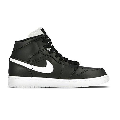 Authentic Air Jordan Shoes (Nike Men's Air Jordan 1 Mid Basketball Shoe Cool Black/White-White 10)