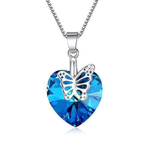Romantic Love Pendant Charm - 3UMeter Swarovski Crystal Butterfly Heart Necklace - 18K White Gold Love Charm Romantic Blue Pendant Necklace with Butterfly for Women