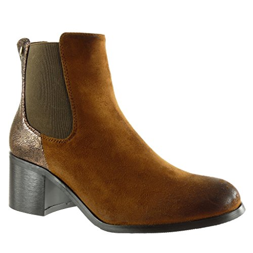 Angkorly Women's Fashion Shoes Ankle Boots - Booty - Chelsea Boots - Vintage Style - Shiny - Studded Block High Heel 5.5 cm Camel lpTUlT7b