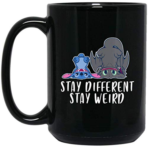 TOOTHLESS AND STITCH STAY DIFFERENT STAY WEIRD 15 oz. Black ()