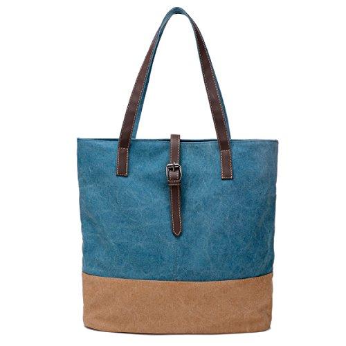 Frauen Jahrgang Leinwand Messenger Aktentasche Schulter Handtasche Seiten Freizeit Tasche ,Blue-OneSize