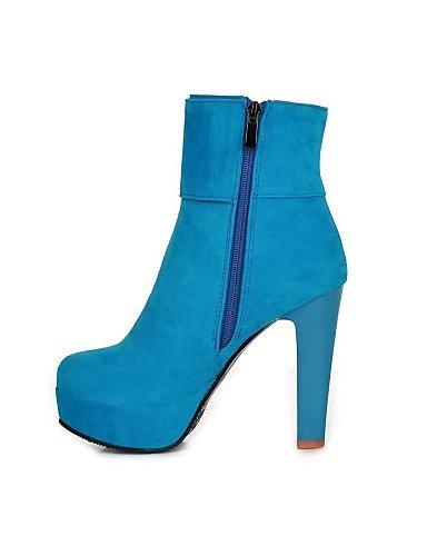 XZZ    Damenschuhe - Stiefel - Kleid - Kunst-Veloursleder - Stöckelabsatz - Rundeschuh   Modische Stiefel - Schwarz   Blau   Rot B01L1GNA4Y Sport- & Outdoorschuhe Saisonale Förderung 00668e