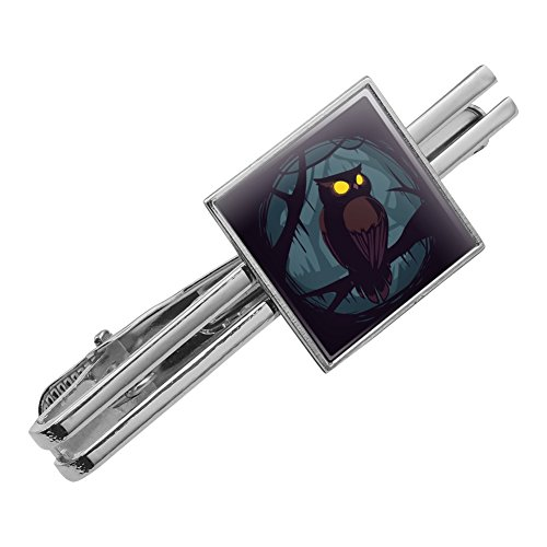 Horned Owl Night Eyes Square Tie Bar Clip Clasp Tack Silver Color from Graphics and More