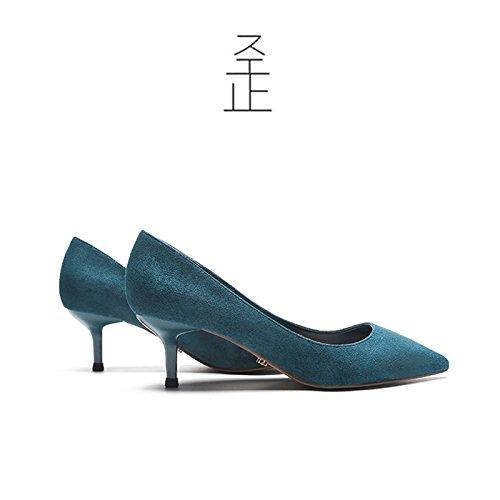 FLYRCX Primavera y otoño sharp suede zapata solo Señoras finas y temperamento superficial parte zapatos de tacón A
