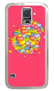 Colorful Heart PC Transparent Hard Case Cover Skin For Samsung Galaxy S5 I9600