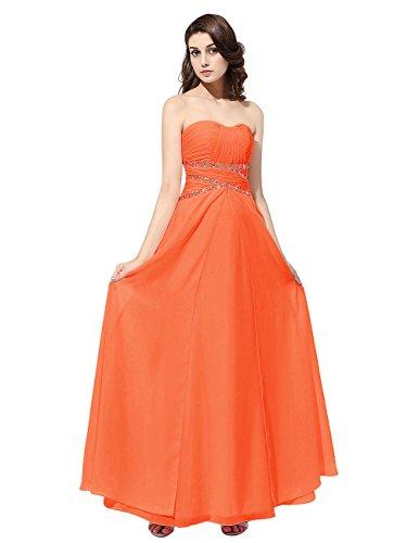 Dresstells®Vestido Mujer De Madrina Fiesta Largo Gasa Escote Corazón Con Cuentas Naranja