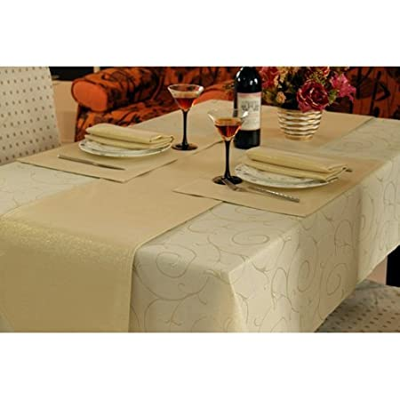 Gold Swirl Design Dining Table Linen Set for 6 Seater Tables (Contains Table Runner  sc 1 st  Amazon UK & Gold Swirl Design Dining Table Linen Set for 6 Seater Tables ...