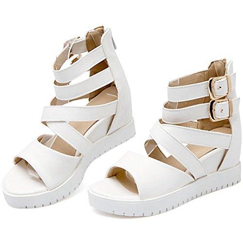 COOLCEPT Mujer Moda Al Tobillo Sandalias Punta Abierta En aumento Zapatos Blanco