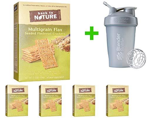(Back to Nature, Seeded Flatbread Crackers, Multigrain Flax, 5.5 oz (156 g) (5 PACKS) + Blender Bottle 20 oz (Assorted Bottle))