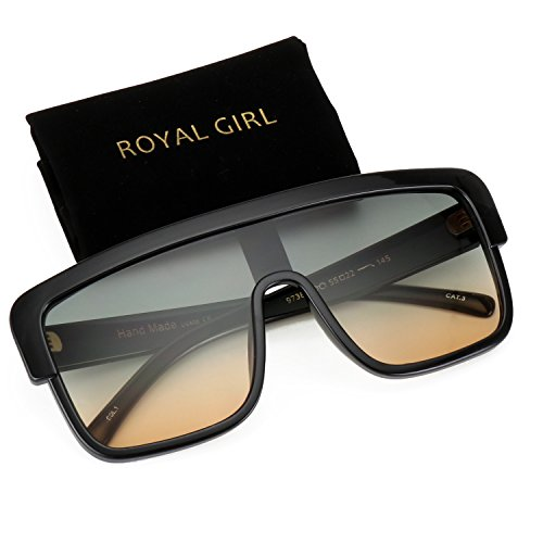 ROYAL GIRL Premium Oversized Sunglasses Women Men Flat Top Square Frame Shield Fashion Shades (Green Brown, ()