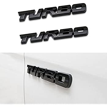 TK-KLZ 2Pcs 3D Metal TURBO Premium Car Side Fender Rear Trunk Emblem Badge Decals for JEEP BMW Dodge Mercedes Benz Chrysler Toyota Honda Nissan Kia Hyundai ...