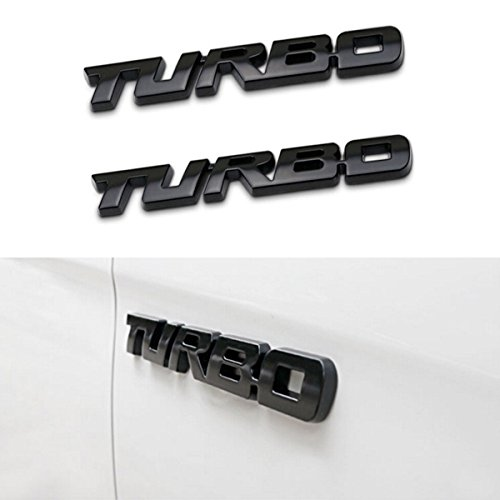 Car Badge Decal (TK-KLZ 2Pcs 3D Metal TURBO Premium Car Side Fender Rear Trunk Emblem Badge Decals for JEEP BMW Dodge Mercedes Benz Chrysler Toyota Honda Nissan Kia Hyundai Chevrolet Ford (Black))