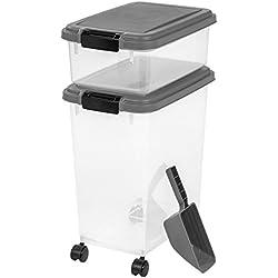 IRIS 3- Piece Airtight Pet Food Storage Container Combo, Dark Gray
