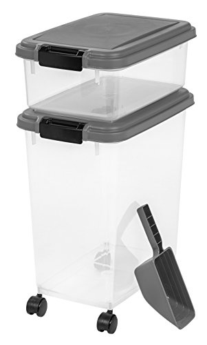 - IRIS 3- Piece Airtight Pet Food Storage Container Combo, Dark Gray