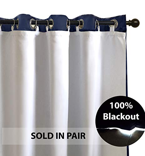 (DriftAway Thermal Insulated 100 Percent Darkening Blackout Curtain Liner for 84 Inch Grommet Curtains 2 Panels Each Liner Size 50 by 80 Inch Rings Included White)