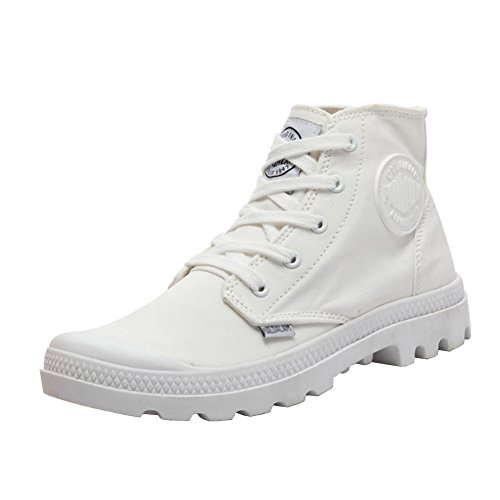 Unisex Couple Men's Women's Outdoor Canvas Combat High top Sneaker Field Paladin Boots White 37-Women US6 by MAIERNISIJESSI
