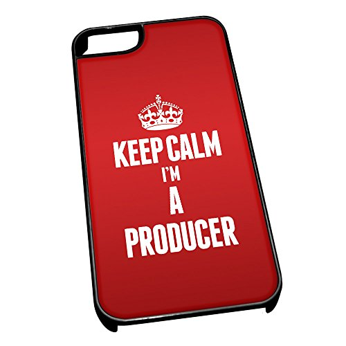 Nero cover per iPhone 5/5S 2655Red Keep Calm I m A produttore