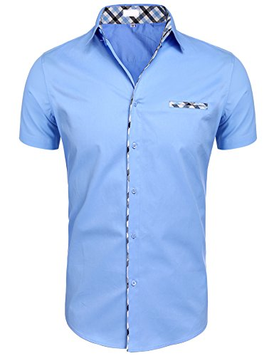 Hotouch Mens Dress Shirts Casual Slim Fit Short Sleeve Men Shirt Sky Blue XL