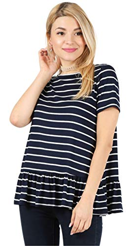 Navy Striped Top Short Sleeve Tunic Top Striped Shirt Women Reg and Plus Size Tops Peplum Tops for Women Navy Blue Blouse (Size XXX-Large US 20-22, Striped Navy/White/Short Sleeve) ()