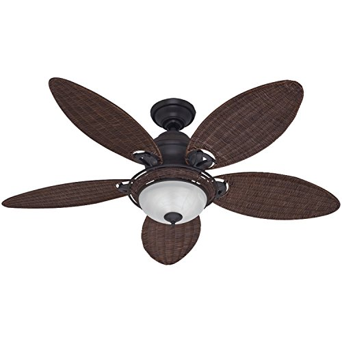 Hunter 54095 Caribbean Breeze 54-Inch Ceiling Fan with Five Antique Dark Wicker Blades and Light Kit, Weathered Bronze (54 Fan Ceiling Inch Breeze)