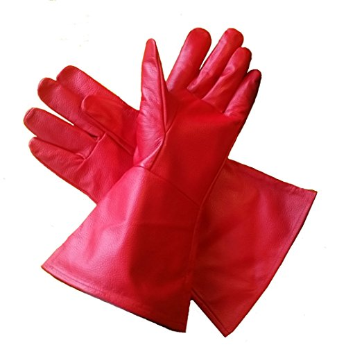 Leather Gauntlet Gloves RED (XX-Small) Extra-Extra Small Long Arm -